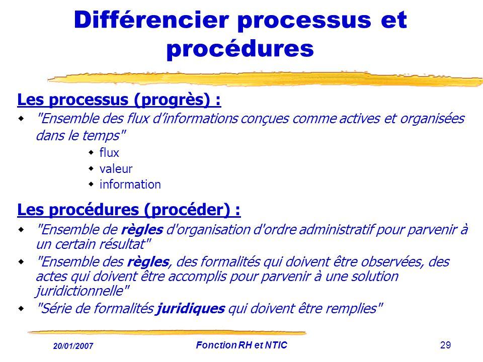 20/01/2007 Fonction RH et NTIC29 Différencier processus et procédures Les processus (progrès) :