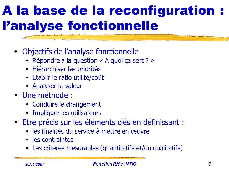 20/01/2007 Fonction RH et NTIC31 A la base de la reconfiguration : lanalyse fonctionnelle Objectifs de lanalyse fonctionnelle Répondre à la question «