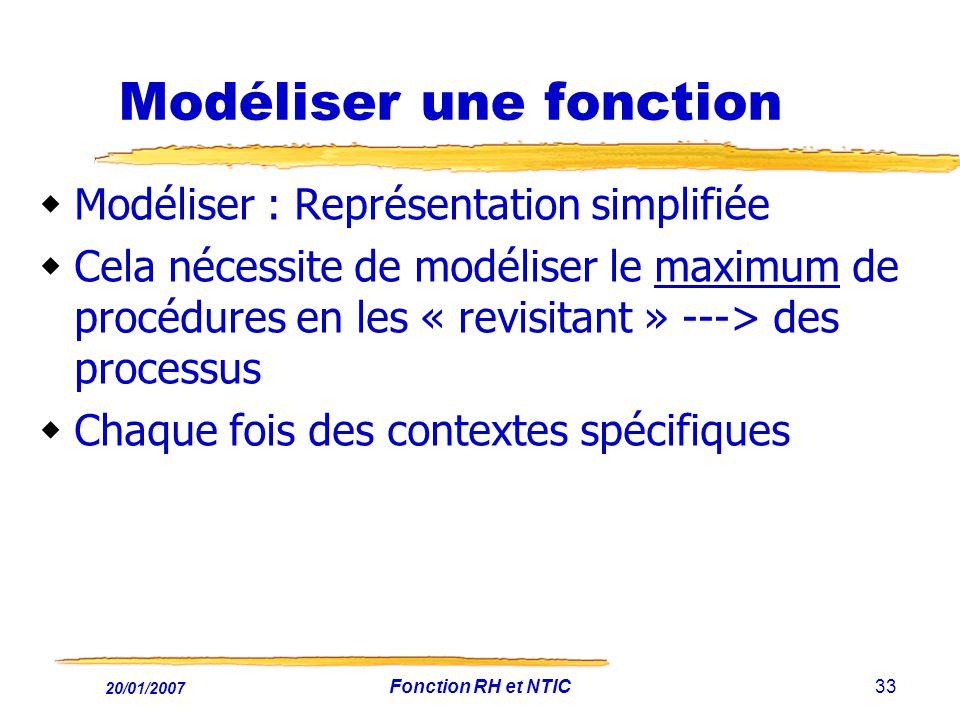 20/01/2007 Fonction RH et NTIC33 Modéliser une fonction Modéliser : Représentation simplifiée Cela nécessite de modéliser le maximum de procédures en