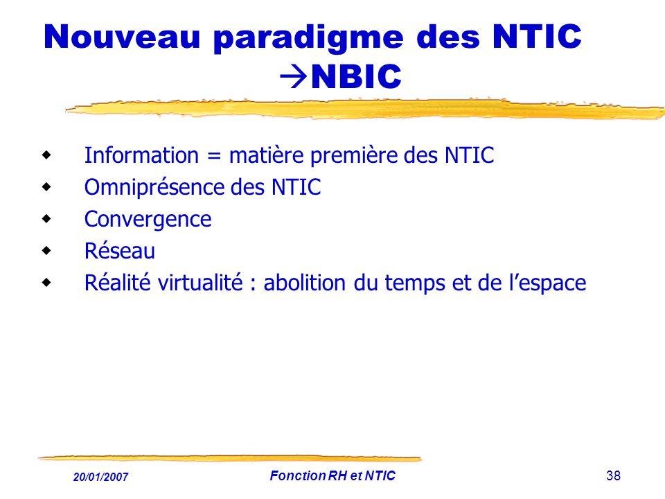 20/01/2007 Fonction RH et NTIC38 Nouveau paradigme des NTIC NBIC Information = matière première des NTIC Omniprésence des NTIC Convergence Réseau Réal