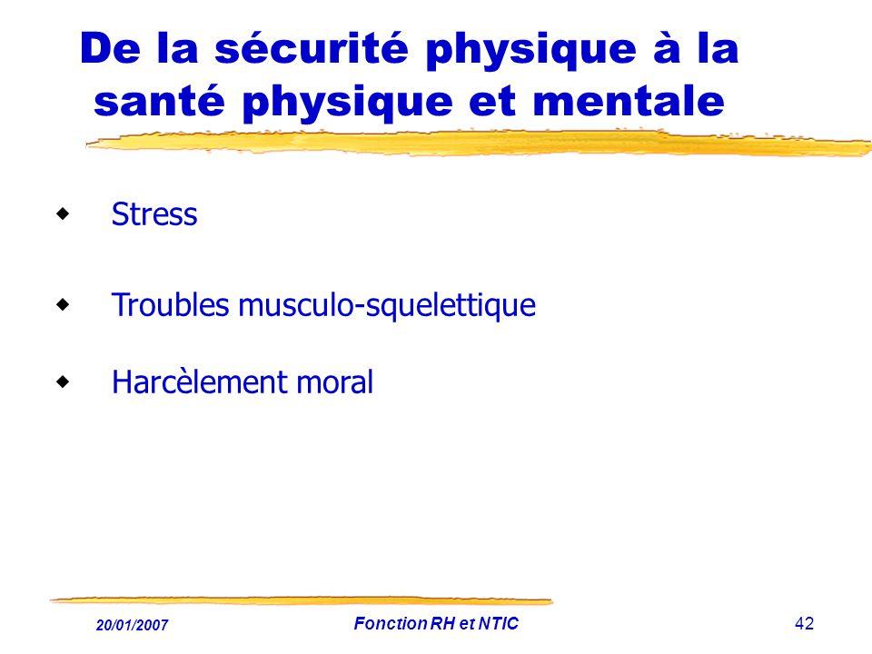20/01/2007 Fonction RH et NTIC42 De la sécurité physique à la santé physique et mentale Stress Troubles musculo-squelettique Harcèlement moral