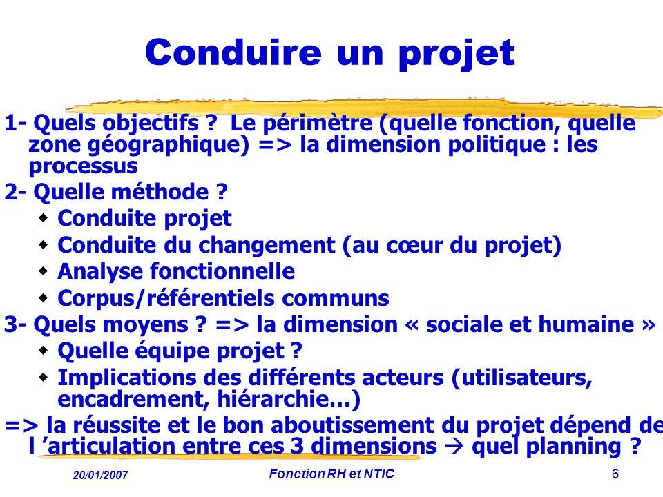 20/01/2007 Fonction RH et NTIC6 Conduire un projet 1- Quels objectifs ? Le périmètre (quelle fonction, quelle zone géographique) => la dimension polit