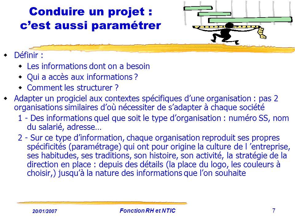 20/01/2007 Fonction RH et NTIC7 Conduire un projet : cest aussi paramétrer Définir : Les informations dont on a besoin Qui a accès aux informations ?