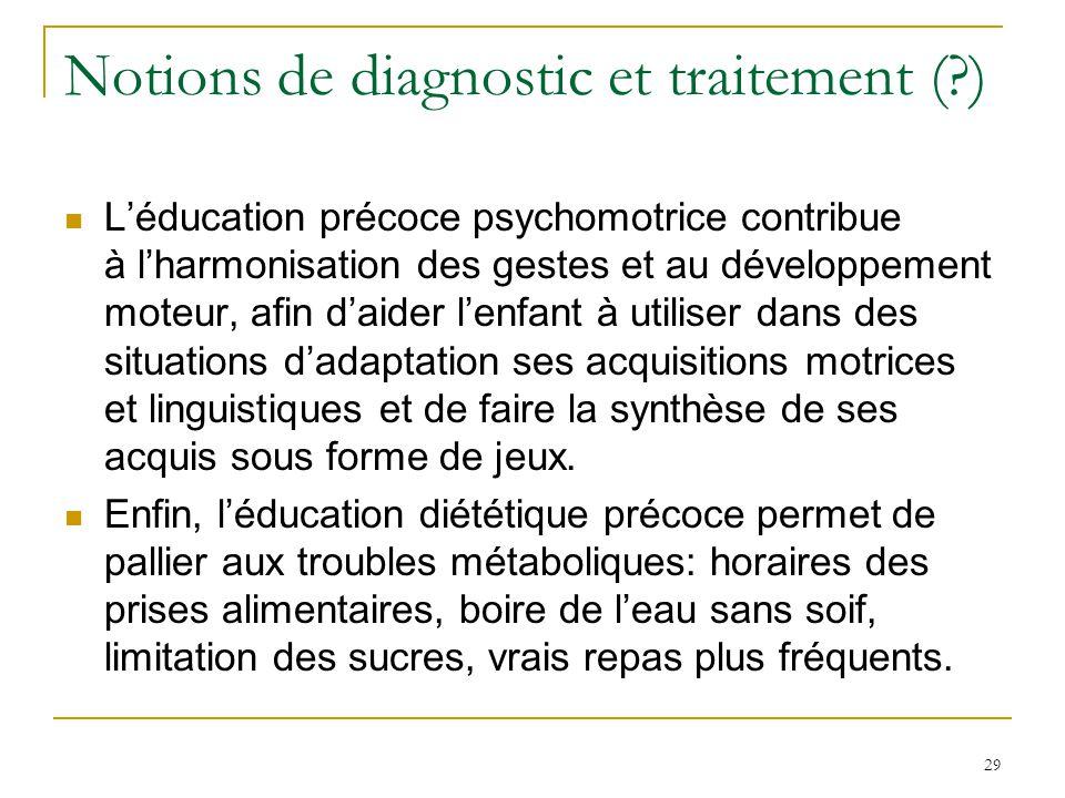29 Notions de diagnostic et traitement (?) Léducation précoce psychomotrice contribue à lharmonisation des gestes et au développement moteur, afin dai