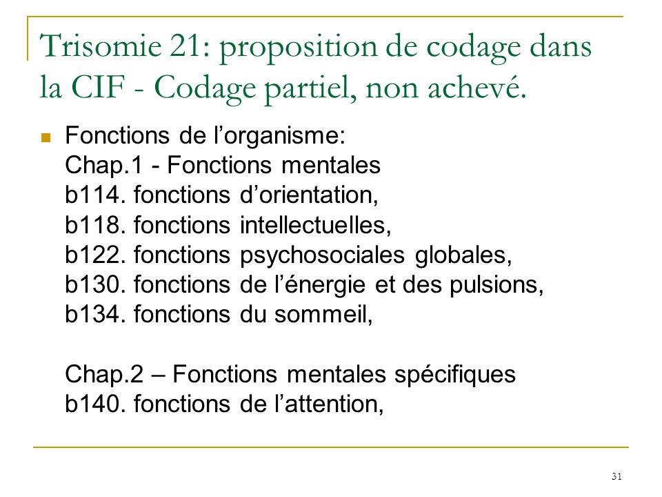 31 Trisomie 21: proposition de codage dans la CIF - Codage partiel, non achevé. Fonctions de lorganisme: Chap.1 - Fonctions mentales b114. fonctions d