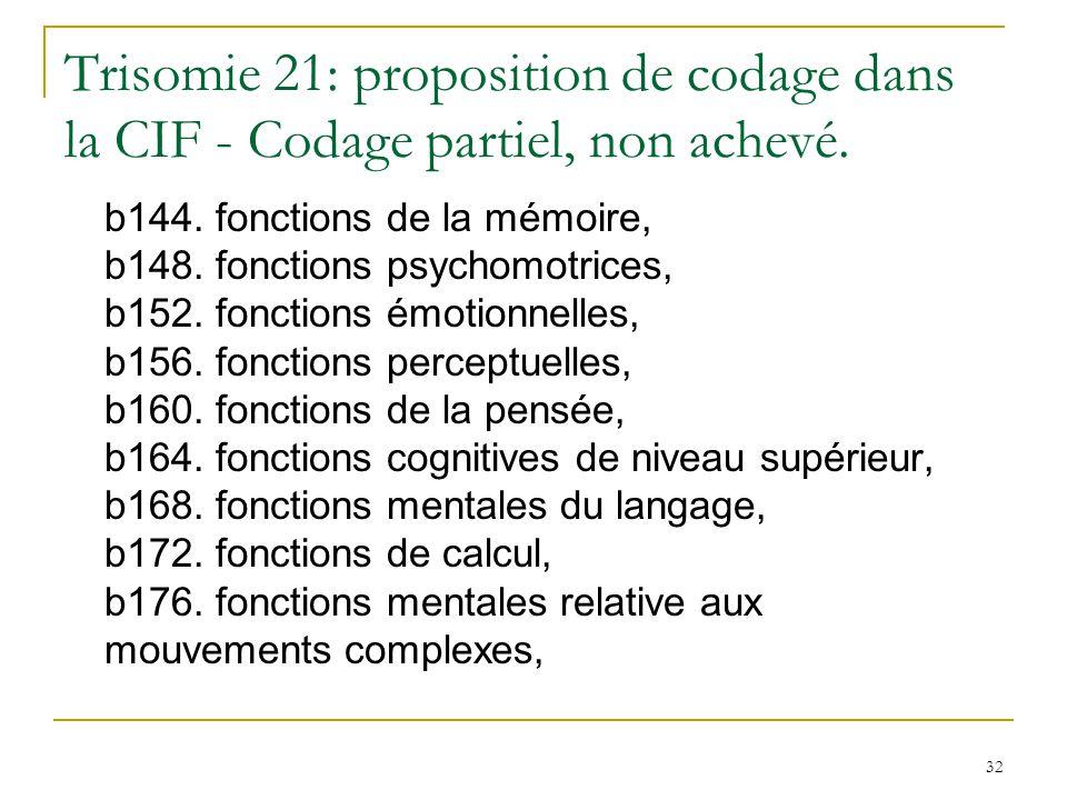 32 Trisomie 21: proposition de codage dans la CIF - Codage partiel, non achevé. b144. fonctions de la mémoire, b148. fonctions psychomotrices, b152. f