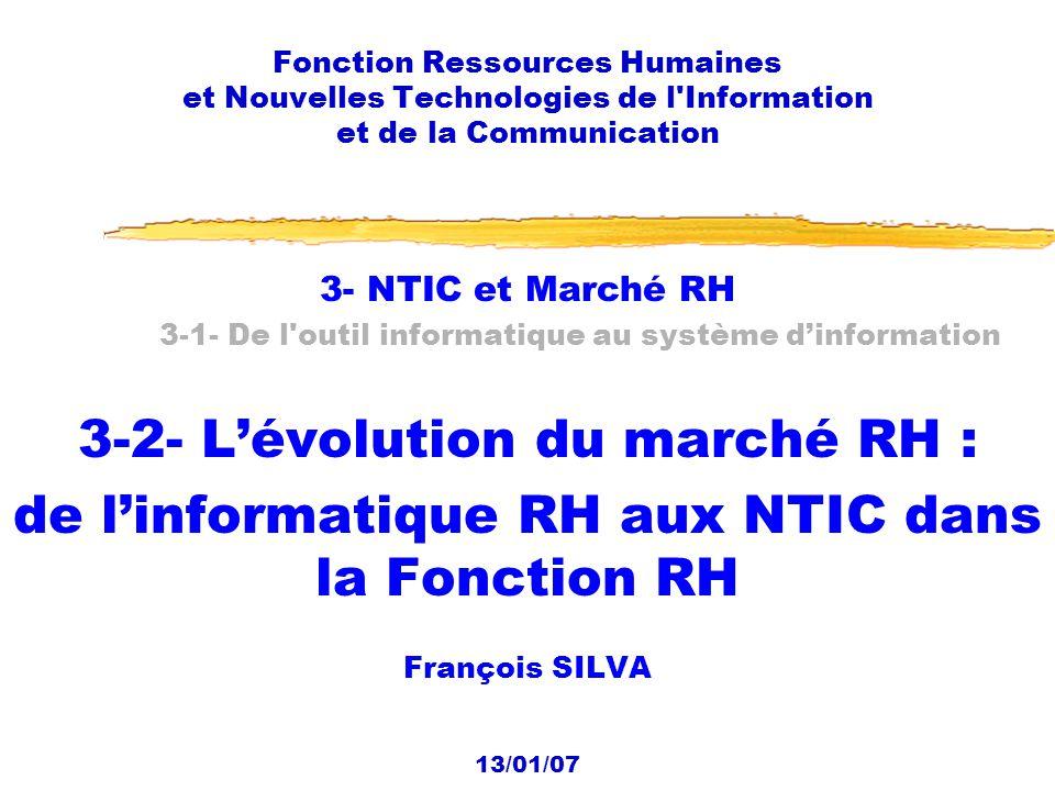 13/01/2007 Fonction RH et NTIC2 Les dates 07/10 Présentation du cours 14/10 1- Le contexte 1-1- Émergence dune économie post-industrielle et dune société hypermoderne 21/10 1-2- Émergence de lentreprise post-industrielle 1-3- Les 4 enjeux 28/10 1-3- Les 4 enjeux (suite) 2- Repositionnement ou réorganisation de la fonction RH 2-1- Lévolution de la fonction RH 02/12 2-1- Lévolution de la fonction RH (suite) 2-2- Reconfiguration de la fonction : processus et réorganisation 10 cours, de 14 h à 17 h, les samedis :