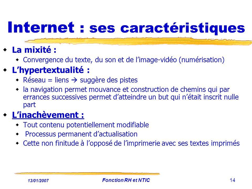 13/01/2007 Fonction RH et NTIC14 Internet : ses caractéristiques La mixité : Convergence du texte, du son et de limage-vidéo (numérisation) Lhypertext