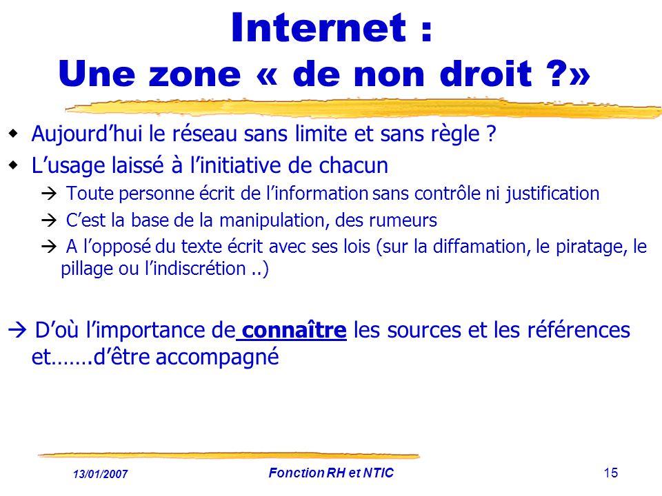 13/01/2007 Fonction RH et NTIC15 Internet : Une zone « de non droit ?» Aujourdhui le réseau sans limite et sans règle ? Lusage laissé à linitiative de