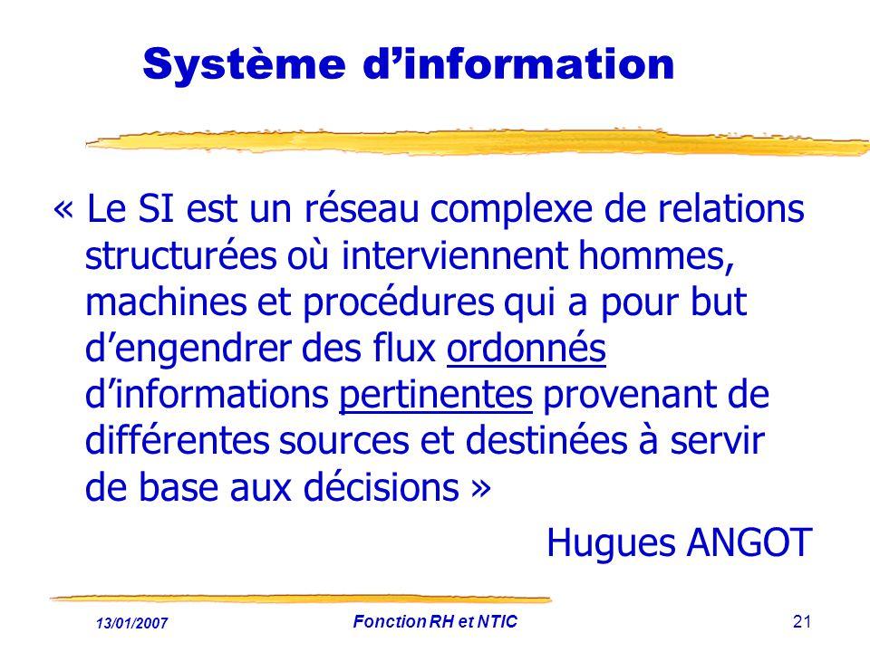 13/01/2007 Fonction RH et NTIC21 Système dinformation « Le SI est un réseau complexe de relations structurées où interviennent hommes, machines et pro