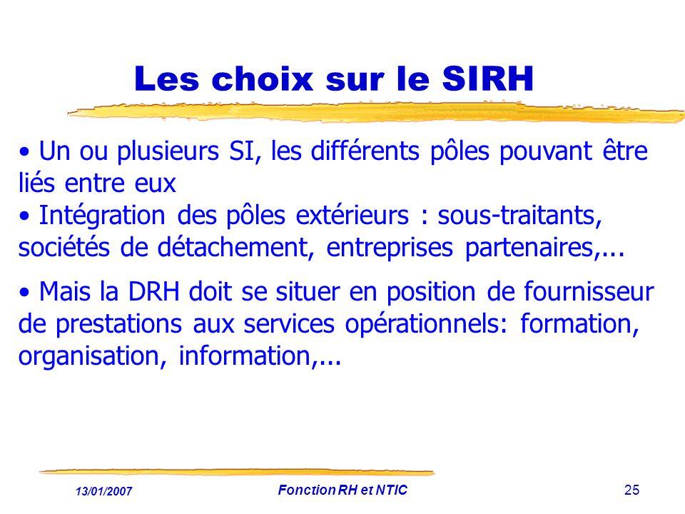 13/01/2007 Fonction RH et NTIC25 Les choix sur le SIRH Un ou plusieurs SI, les différents pôles pouvant être liés entre eux Intégration des pôles extérieurs : sous-traitants, sociétés de détachement, entreprises partenaires,...