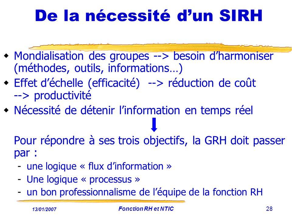 13/01/2007 Fonction RH et NTIC28 De la nécessité dun SIRH Mondialisation des groupes --> besoin dharmoniser (méthodes, outils, informations…) Effet déchelle (efficacité) --> réduction de coût --> productivité Nécessité de détenir linformation en temps réel Pour répondre à ses trois objectifs, la GRH doit passer par : -une logique « flux dinformation » -Une logique « processus » -un bon professionnalisme de léquipe de la fonction RH