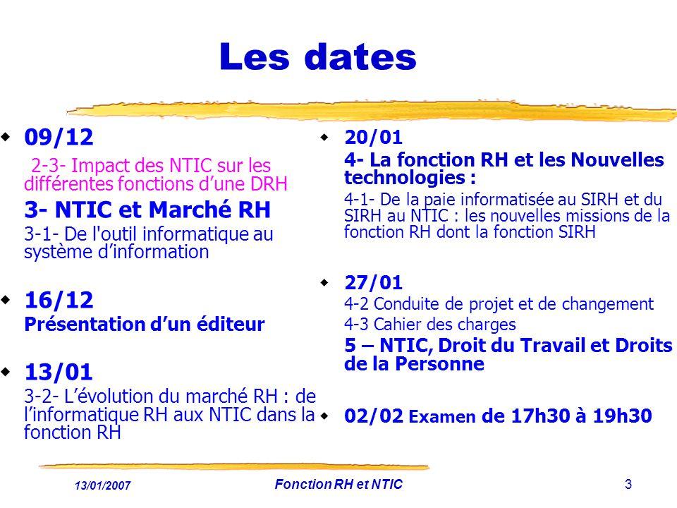 13/01/2007 Fonction RH et NTIC3 Les dates 09/12 2-3- Impact des NTIC sur les différentes fonctions dune DRH 3- NTIC et Marché RH 3-1- De l outil informatique au système dinformation 16/12 Présentation dun éditeur 13/01 3-2- Lévolution du marché RH : de linformatique RH aux NTIC dans la fonction RH 20/01 4- La fonction RH et les Nouvelles technologies : 4-1- De la paie informatisée au SIRH et du SIRH au NTIC : les nouvelles missions de la fonction RH dont la fonction SIRH 27/01 4-2 Conduite de projet et de changement 4-3 Cahier des charges 5 – NTIC, Droit du Travail et Droits de la Personne 02/02 Examen de 17h30 à 19h30