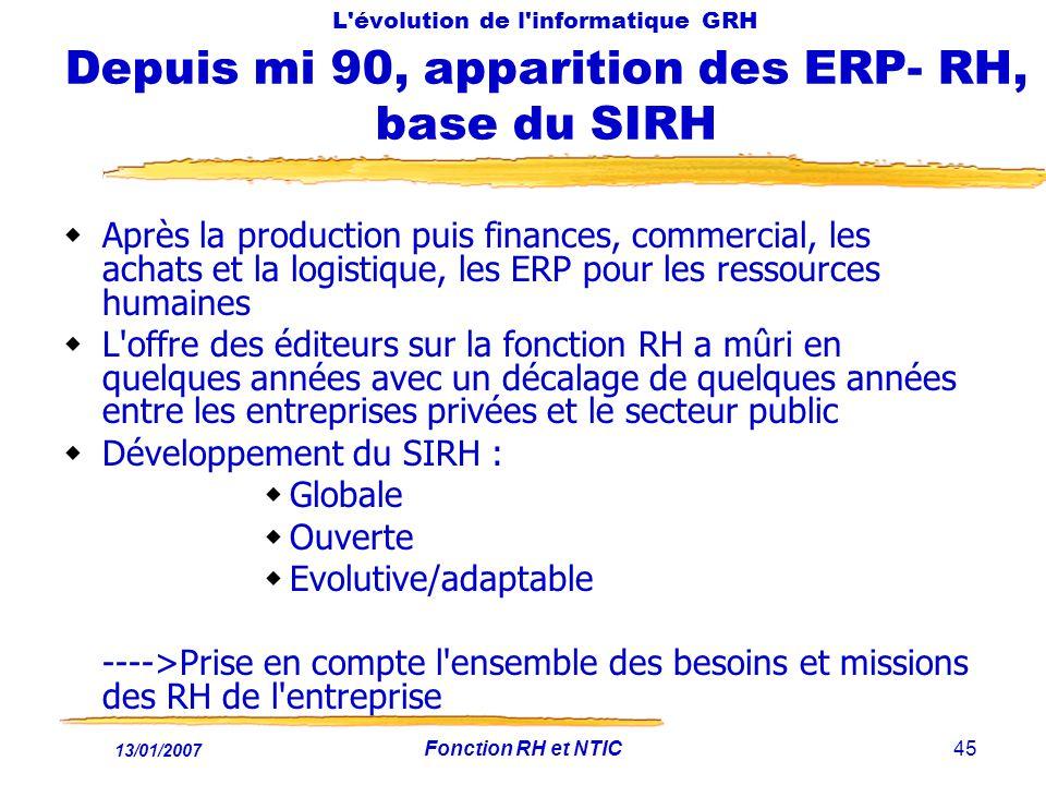 13/01/2007 Fonction RH et NTIC45 L évolution de l informatique GRH Depuis mi 90, apparition des ERP- RH, base du SIRH Après la production puis finances, commercial, les achats et la logistique, les ERP pour les ressources humaines L offre des éditeurs sur la fonction RH a mûri en quelques années avec un décalage de quelques années entre les entreprises privées et le secteur public Développement du SIRH : Globale Ouverte Evolutive/adaptable ---->Prise en compte l ensemble des besoins et missions des RH de l entreprise