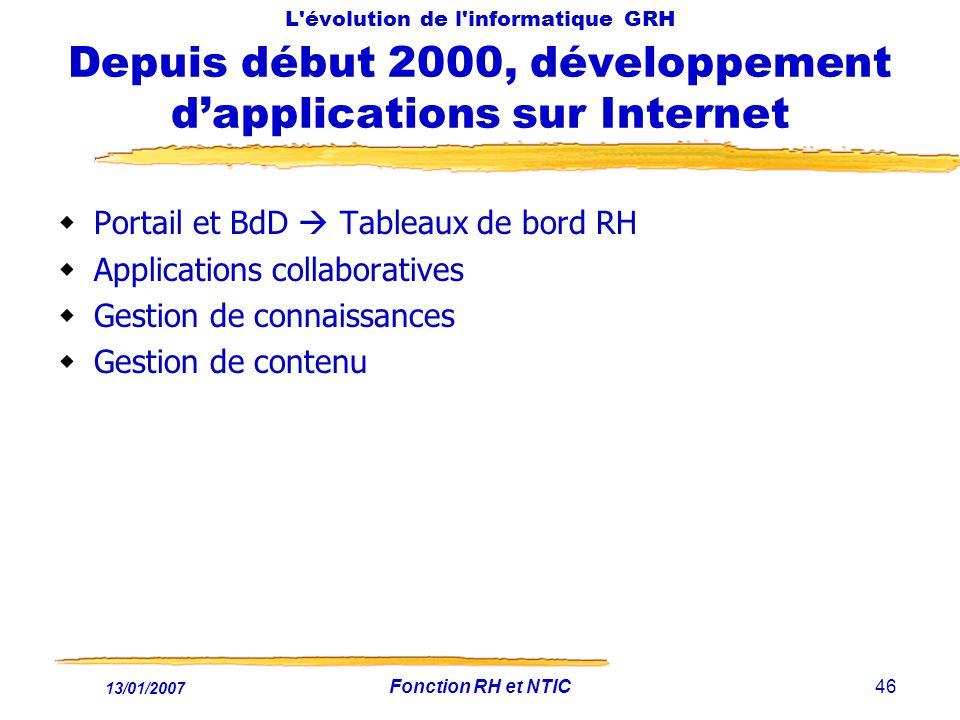 13/01/2007 Fonction RH et NTIC46 L'évolution de l'informatique GRH Depuis début 2000, développement dapplications sur Internet Portail et BdD Tableaux