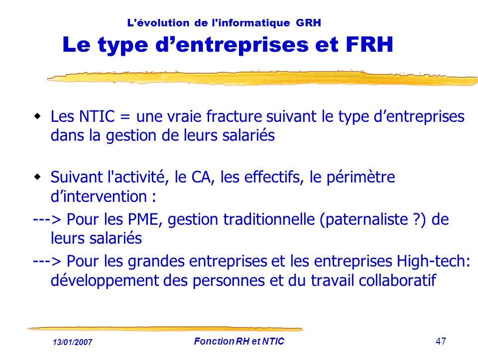 13/01/2007 Fonction RH et NTIC47 L'évolution de l'informatique GRH Le type dentreprises et FRH Les NTIC = une vraie fracture suivant le type dentrepri