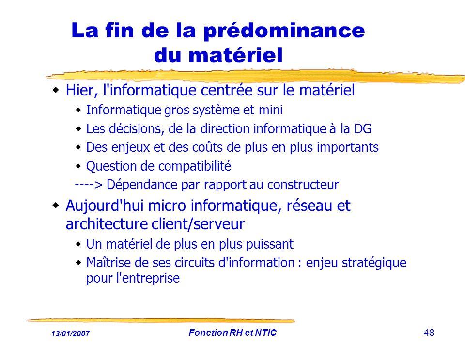 13/01/2007 Fonction RH et NTIC48 La fin de la prédominance du matériel Hier, l'informatique centrée sur le matériel Informatique gros système et mini