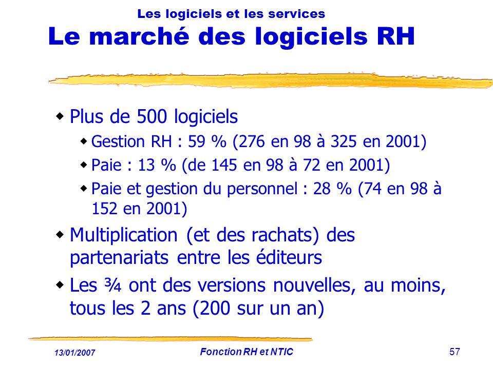 13/01/2007 Fonction RH et NTIC57 Les logiciels et les services Le marché des logiciels RH Plus de 500 logiciels Gestion RH : 59 % (276 en 98 à 325 en