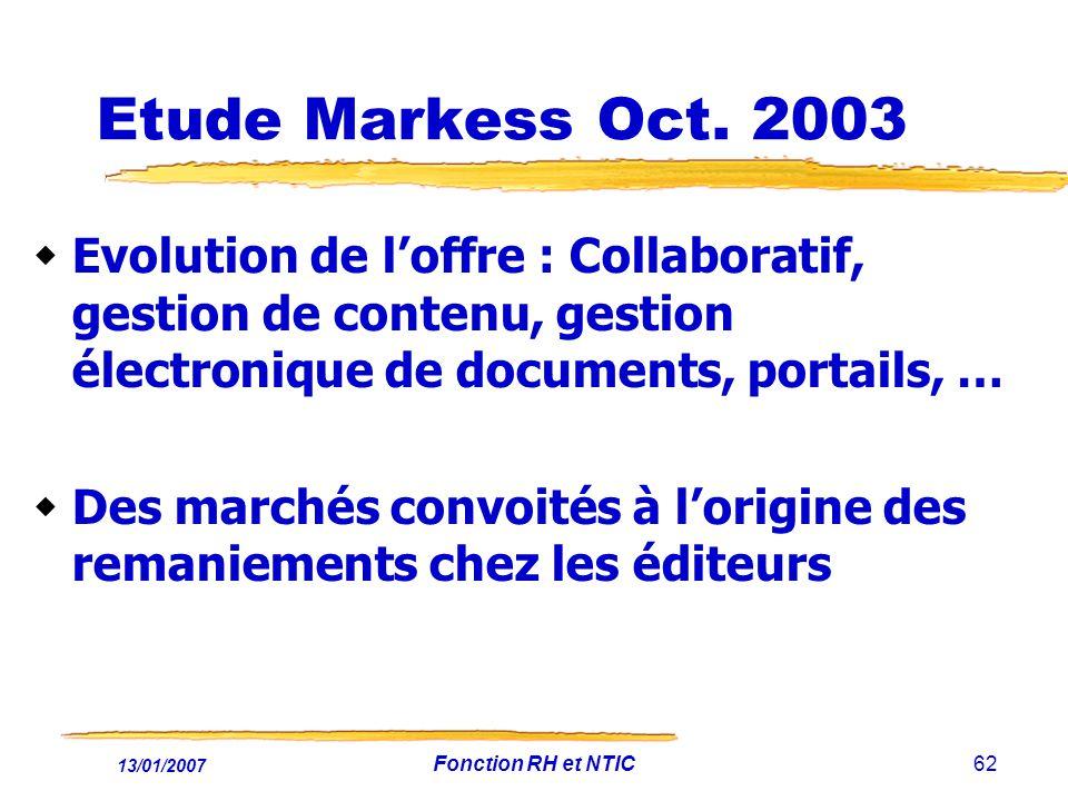 13/01/2007 Fonction RH et NTIC62 Etude Markess Oct. 2003 Evolution de loffre : Collaboratif, gestion de contenu, gestion électronique de documents, po