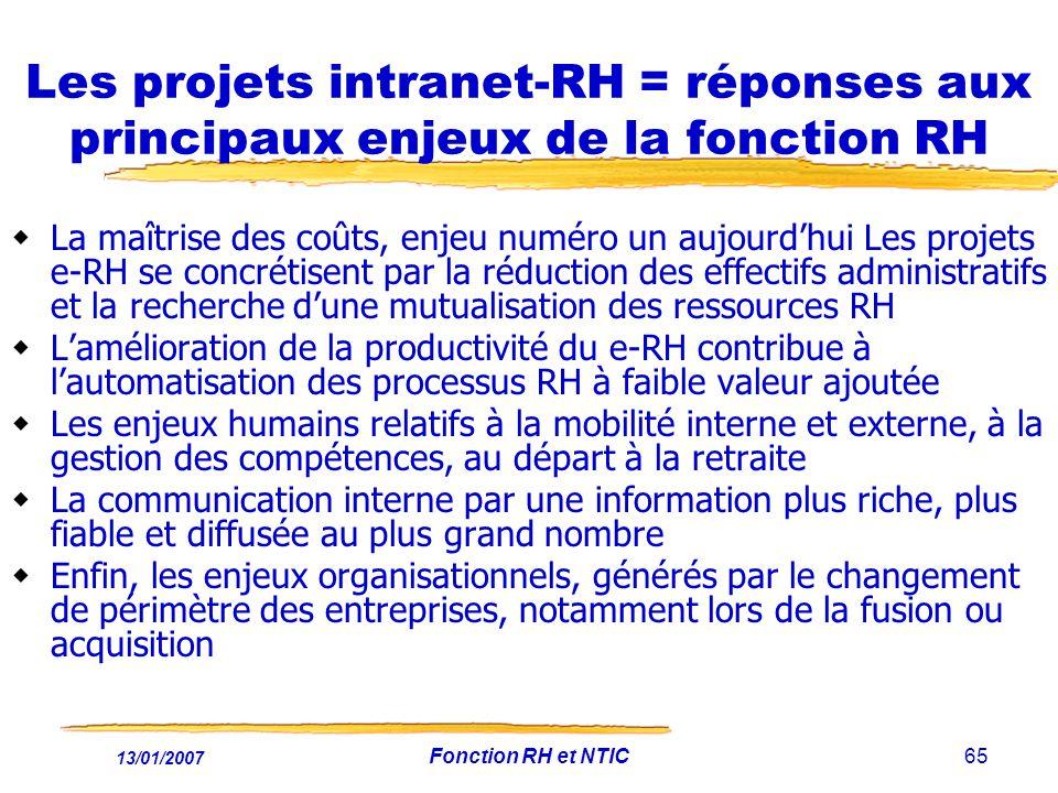 13/01/2007 Fonction RH et NTIC65 Les projets intranet-RH = réponses aux principaux enjeux de la fonction RH La maîtrise des coûts, enjeu numéro un aujourdhui Les projets e-RH se concrétisent par la réduction des effectifs administratifs et la recherche dune mutualisation des ressources RH Lamélioration de la productivité du e-RH contribue à lautomatisation des processus RH à faible valeur ajoutée Les enjeux humains relatifs à la mobilité interne et externe, à la gestion des compétences, au départ à la retraite La communication interne par une information plus riche, plus fiable et diffusée au plus grand nombre Enfin, les enjeux organisationnels, générés par le changement de périmètre des entreprises, notamment lors de la fusion ou acquisition
