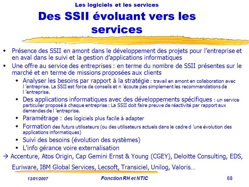 13/01/2007 Fonction RH et NTIC68 Les logiciels et les services Des SSII évoluant vers les services Présence des SSII en amont dans le développement de