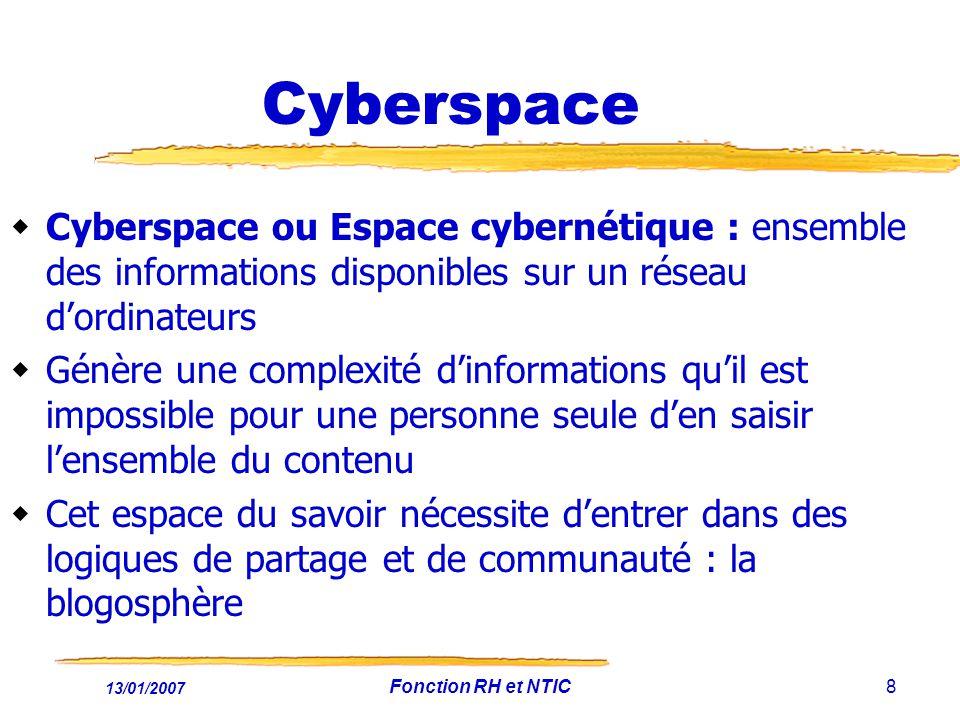 13/01/2007 Fonction RH et NTIC8 Cyberspace Cyberspace ou Espace cybernétique : ensemble des informations disponibles sur un réseau dordinateurs Génère