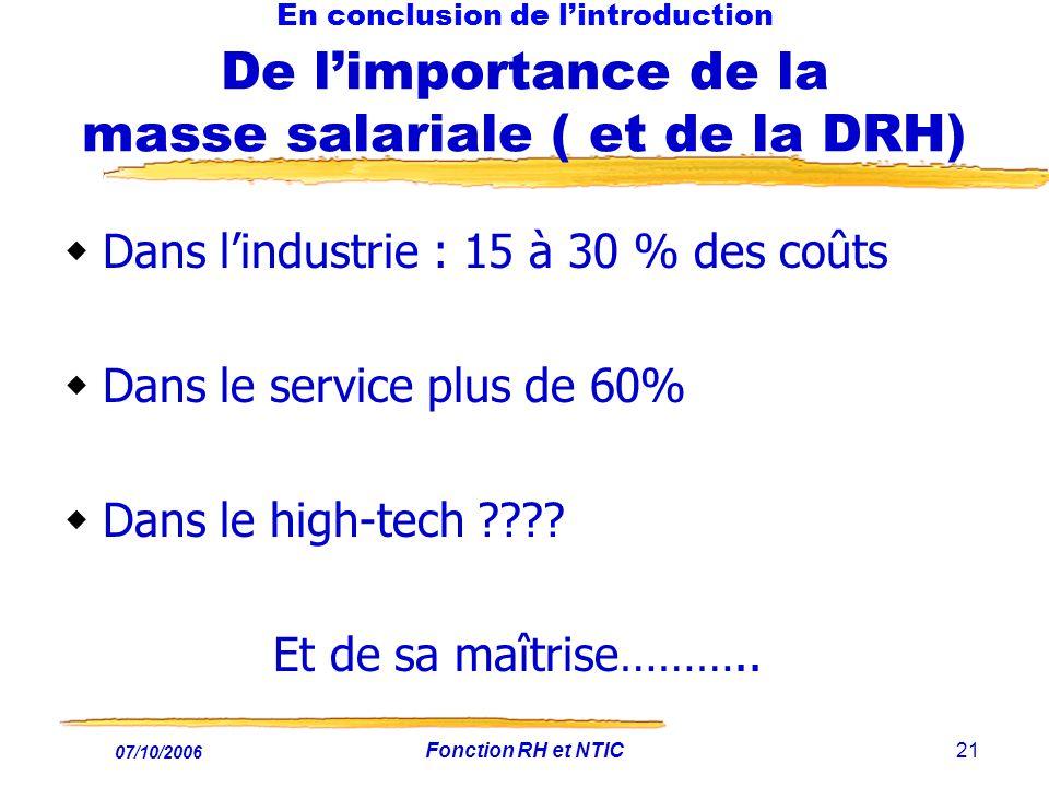 07/10/2006 Fonction RH et NTIC21 En conclusion de lintroduction De limportance de la masse salariale ( et de la DRH) Dans lindustrie : 15 à 30 % des coûts Dans le service plus de 60% Dans le high-tech ???.
