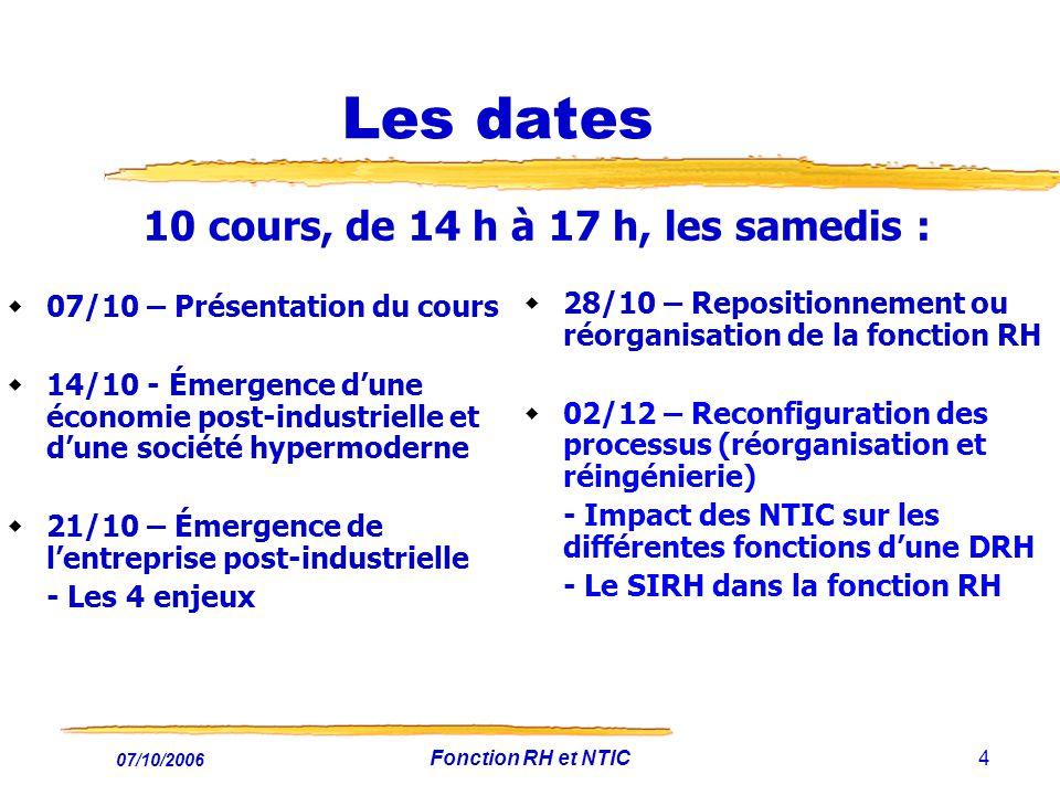 07/10/2006 Fonction RH et NTIC15 Pourquoi ce cours .