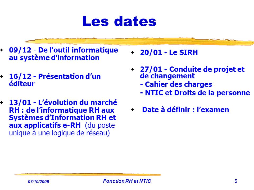 07/10/2006 Fonction RH et NTIC6 Lexamen : le ????.