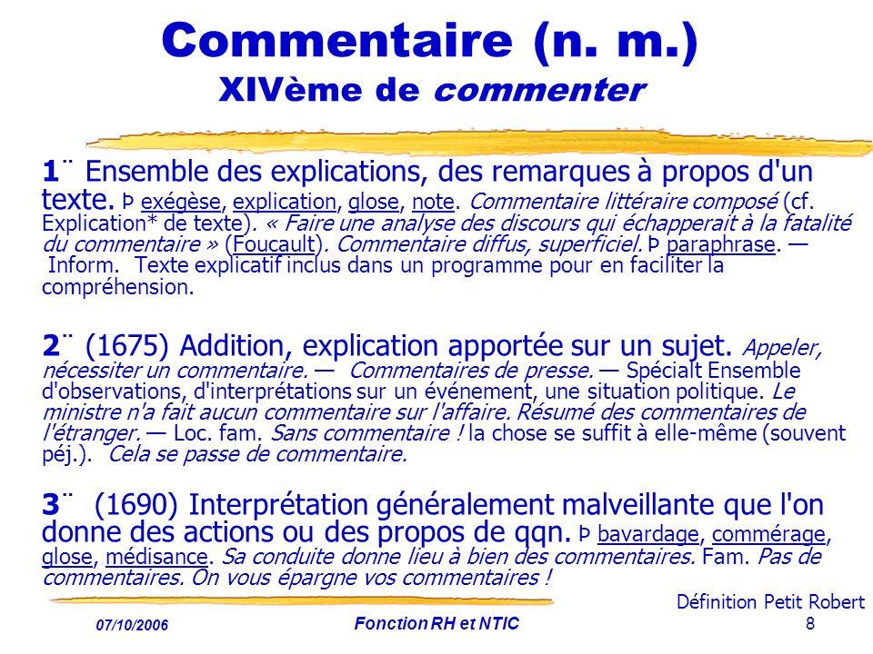07/10/2006 Fonction RH et NTIC8 Commentaire (n.