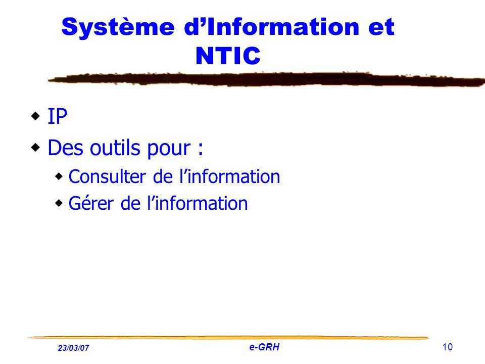 23/03/07 e-GRH 10 Système dInformation et NTIC IP Des outils pour : Consulter de linformation Gérer de linformation