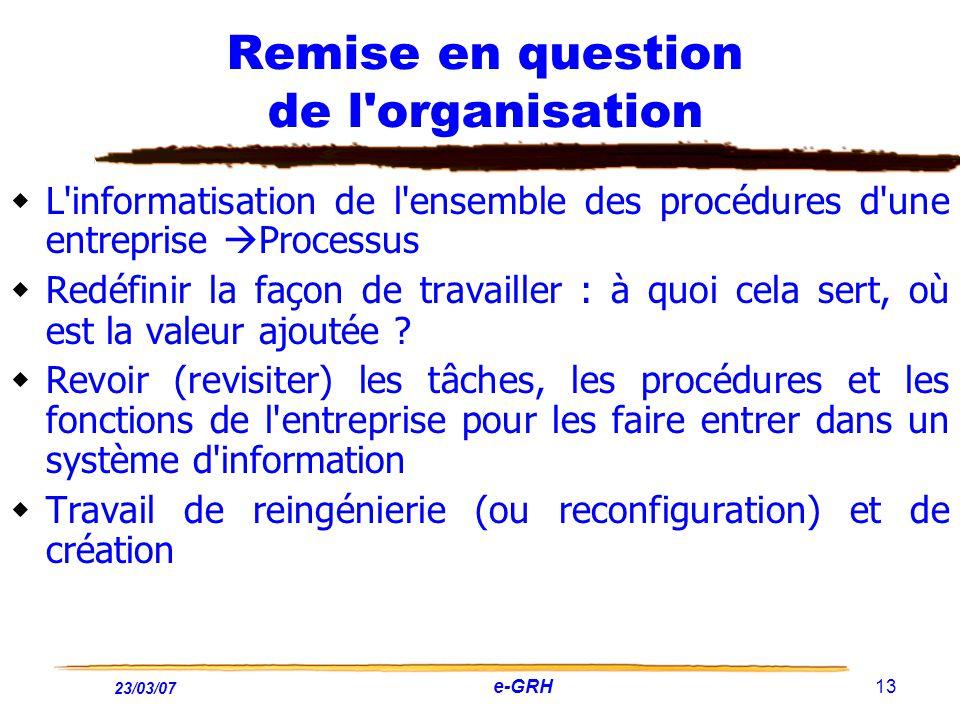 23/03/07 e-GRH 13 Remise en question de l'organisation L'informatisation de l'ensemble des procédures d'une entreprise Processus Redéfinir la façon de