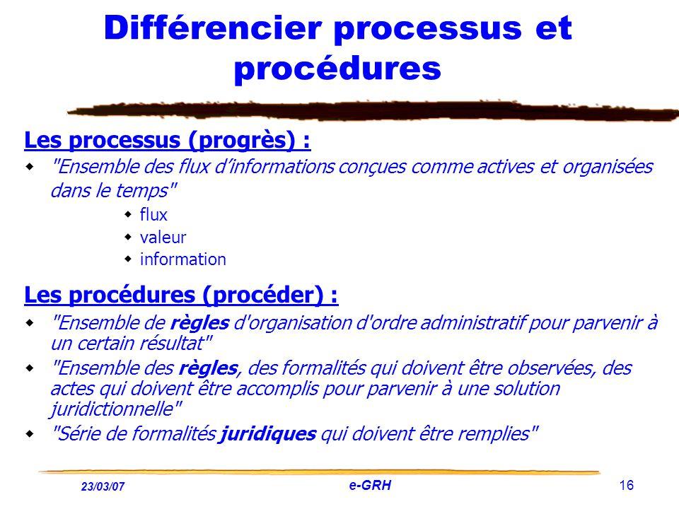 23/03/07 e-GRH 16 Différencier processus et procédures Les processus (progrès) :