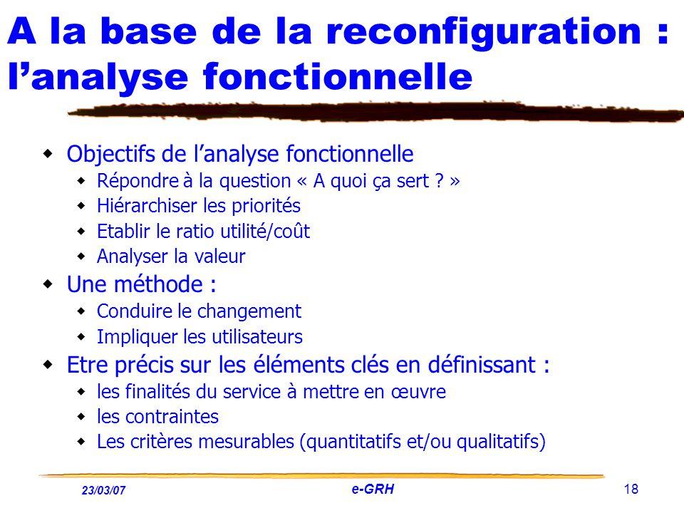 23/03/07 e-GRH 18 A la base de la reconfiguration : lanalyse fonctionnelle Objectifs de lanalyse fonctionnelle Répondre à la question « A quoi ça sert