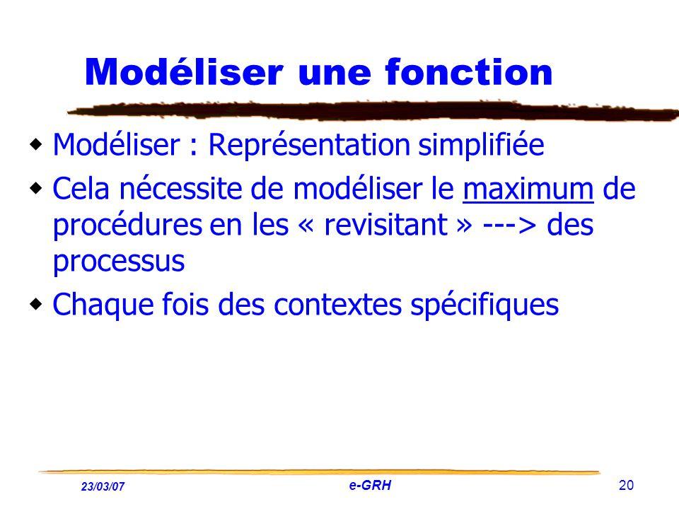 23/03/07 e-GRH 20 Modéliser une fonction Modéliser : Représentation simplifiée Cela nécessite de modéliser le maximum de procédures en les « revisitan
