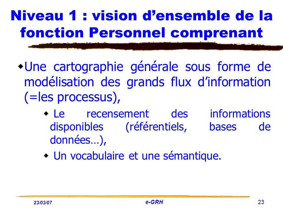 23/03/07 e-GRH 23 Niveau 1 : vision densemble de la fonction Personnel comprenant Une cartographie générale sous forme de modélisation des grands flux