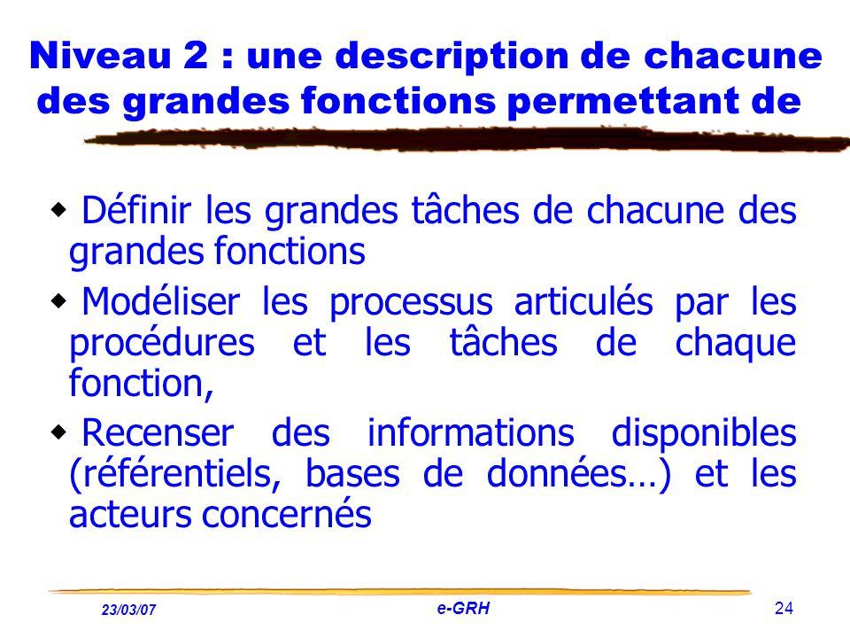 23/03/07 e-GRH 24 Niveau 2 : une description de chacune des grandes fonctions permettant de Définir les grandes tâches de chacune des grandes fonction