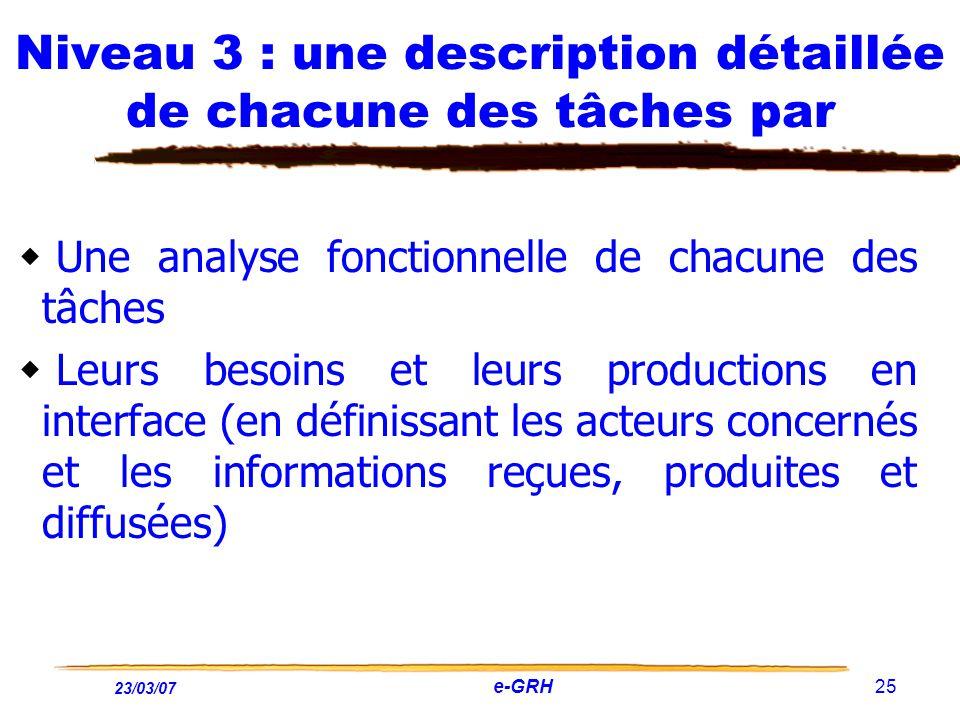 23/03/07 e-GRH 25 Niveau 3 : une description détaillée de chacune des tâches par Une analyse fonctionnelle de chacune des tâches Leurs besoins et leur