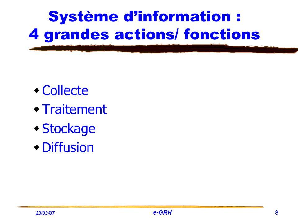 23/03/07 e-GRH 8 Système dinformation : 4 grandes actions/ fonctions Collecte Traitement Stockage Diffusion