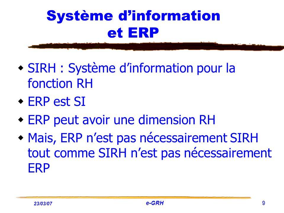 23/03/07 e-GRH 9 Système dinformation et ERP SIRH : Système dinformation pour la fonction RH ERP est SI ERP peut avoir une dimension RH Mais, ERP nest