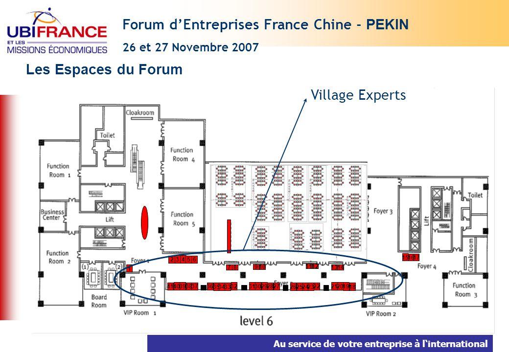 Au service de votre entreprise à linternational Les Espaces du Forum Forum dEntreprises France Chine - PEKIN 26 et 27 Novembre 2007 7 40 39 38 37 36 3
