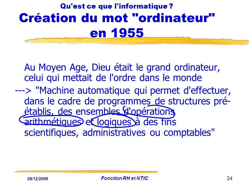 09/12/2006 Fonction RH et NTIC24 Qu'est ce que l'informatique ? Création du mot