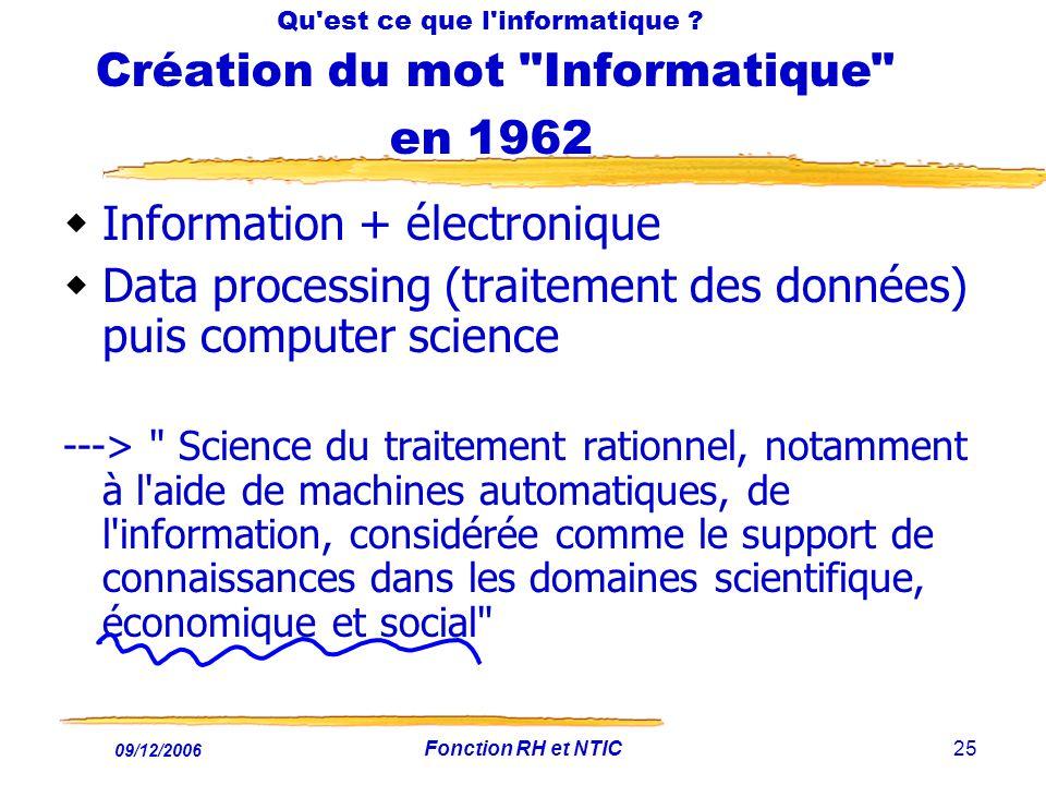 09/12/2006 Fonction RH et NTIC25 Qu'est ce que l'informatique ? Création du mot