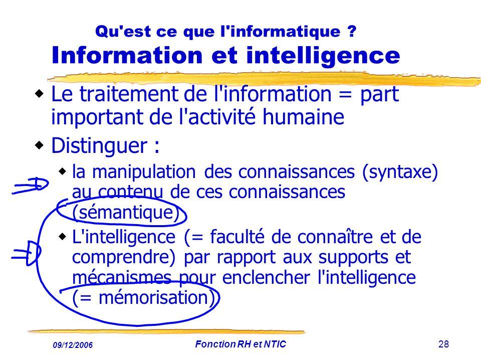 09/12/2006 Fonction RH et NTIC28 Qu'est ce que l'informatique ? Information et intelligence Le traitement de l'information = part important de l'activ