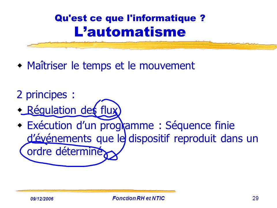 09/12/2006 Fonction RH et NTIC29 Qu'est ce que l'informatique ? Lautomatisme Maîtriser le temps et le mouvement 2 principes : Régulation des flux Exéc