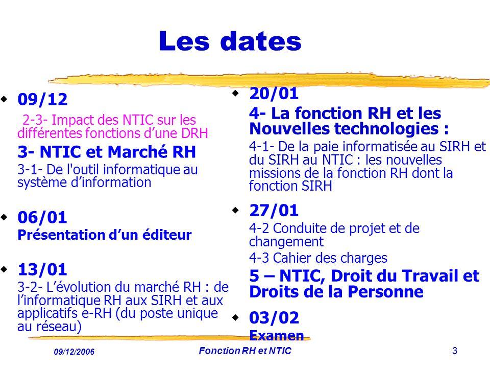 09/12/2006 Fonction RH et NTIC3 Les dates 09/12 2-3- Impact des NTIC sur les différentes fonctions dune DRH 3- NTIC et Marché RH 3-1- De l'outil infor
