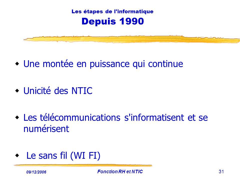 09/12/2006 Fonction RH et NTIC31 Les étapes de l'informatique Depuis 1990 Une montée en puissance qui continue Unicité des NTIC Les télécommunications
