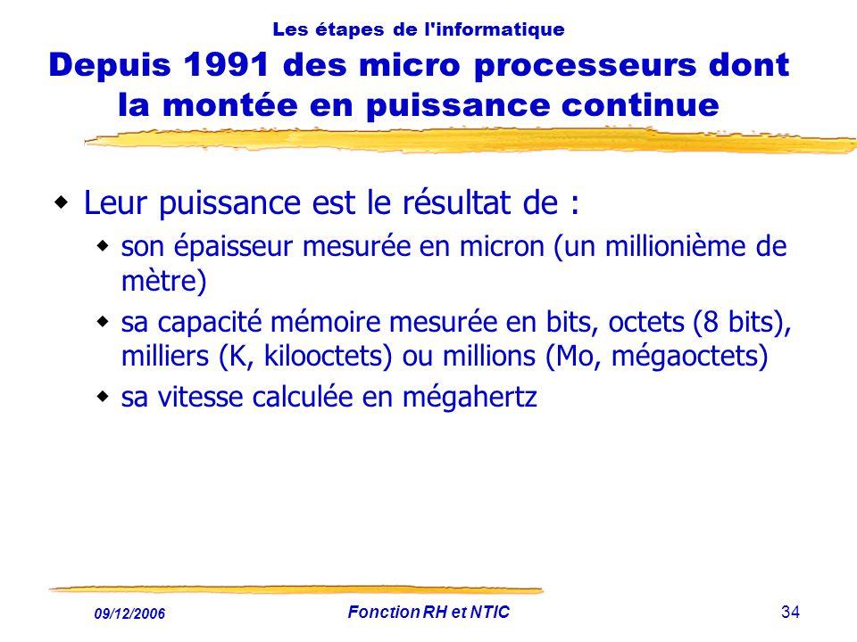 09/12/2006 Fonction RH et NTIC34 Les étapes de l'informatique Depuis 1991 des micro processeurs dont la montée en puissance continue Leur puissance es