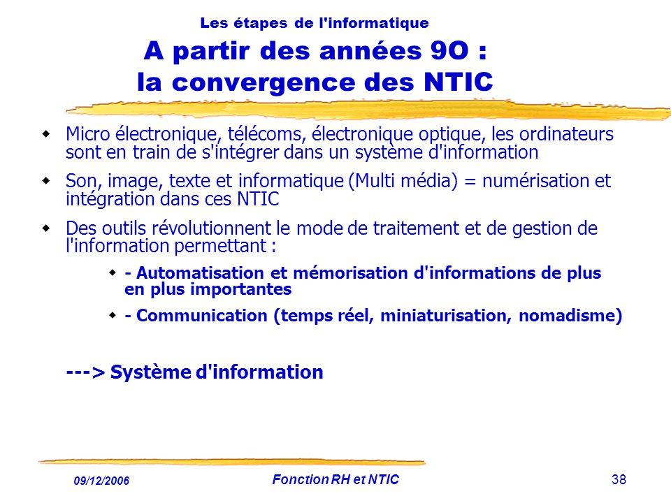 09/12/2006 Fonction RH et NTIC38 Les étapes de l'informatique A partir des années 9O : la convergence des NTIC Micro électronique, télécoms, électroni