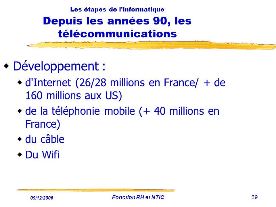 09/12/2006 Fonction RH et NTIC39 Les étapes de l'informatique Depuis les années 90, les télécommunications Développement : d'Internet (26/28 millions